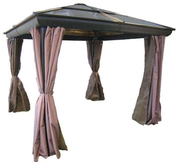 black roof pink curtain aluminum gazebo kit