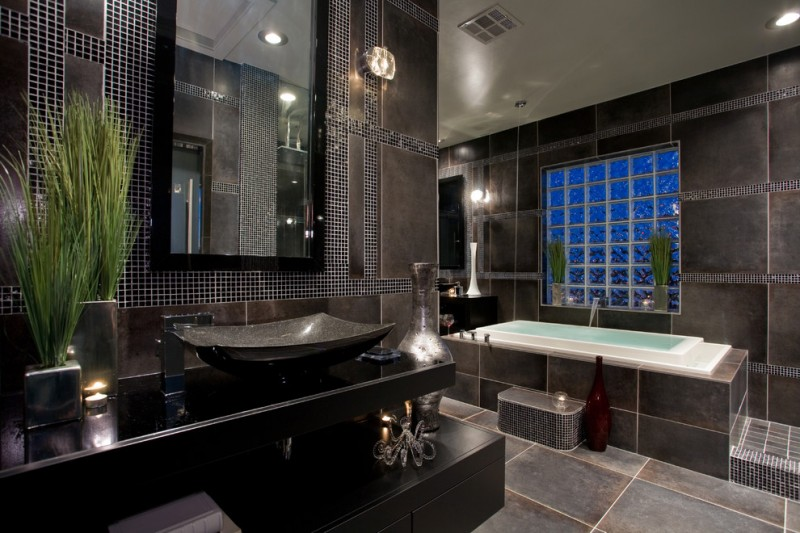black vanity unit black granite sink elegant dark marble tiled wall green touching accent spacious mirror glass window relaxing tub with tubfiller at the ceiling