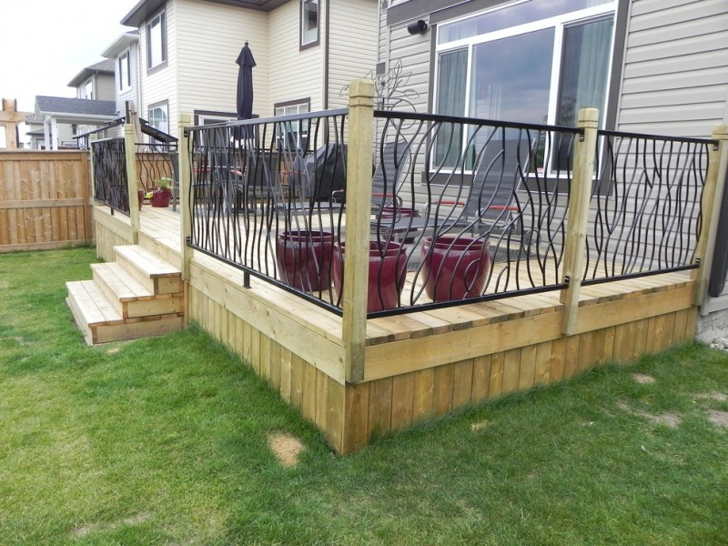 black wrought metal deck railing