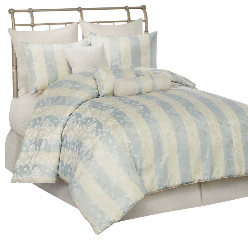 blue ivory striped ivory flower pattern bedding with 7 pillows
