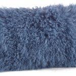 Blue Lamb Fur Textured Throw Pillow