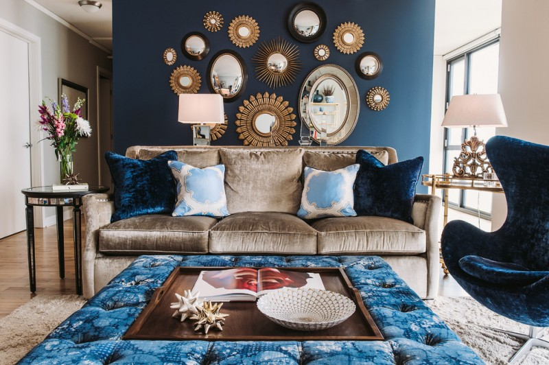 blue living room ideas blue pillows flowers sofa wooden floor blue surface chair lamp table window ceiling lamp