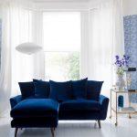 Blue Living Room Ideas Blue Sofa Blue Wall Pattern Blue Flower Pattern On Floor Big Window White Curtain