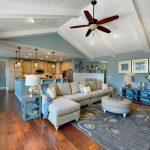 Blue Living Room Ideas Wooden Floor Sofa Modern Table Shelves Ceiling Fan Ceiling Lamps Cabinet Curtain