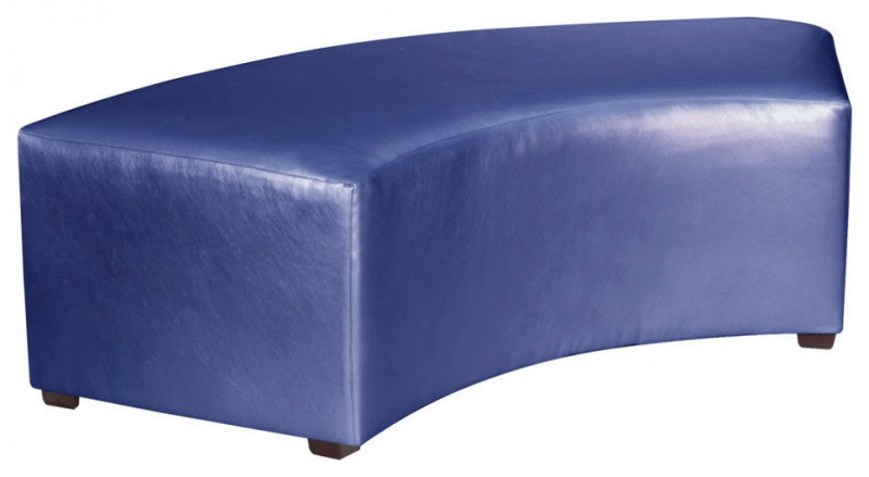 blue purple leather upholstered bench