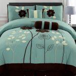 Brown Flower On Teal Bedding