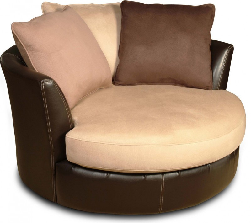 brown mocca coffee round a chair and a half pillows