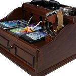 brown organized nightstand charging station