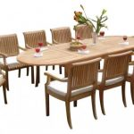 Brown Round Teak Dining Table And Chairs For 10