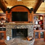 Brown Rustic Built In Niches At The Top Of Fireplace