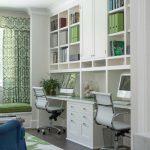 Built In White Cabinet Open Functional Bookshelves Modern Task Chair Green Wool Rug