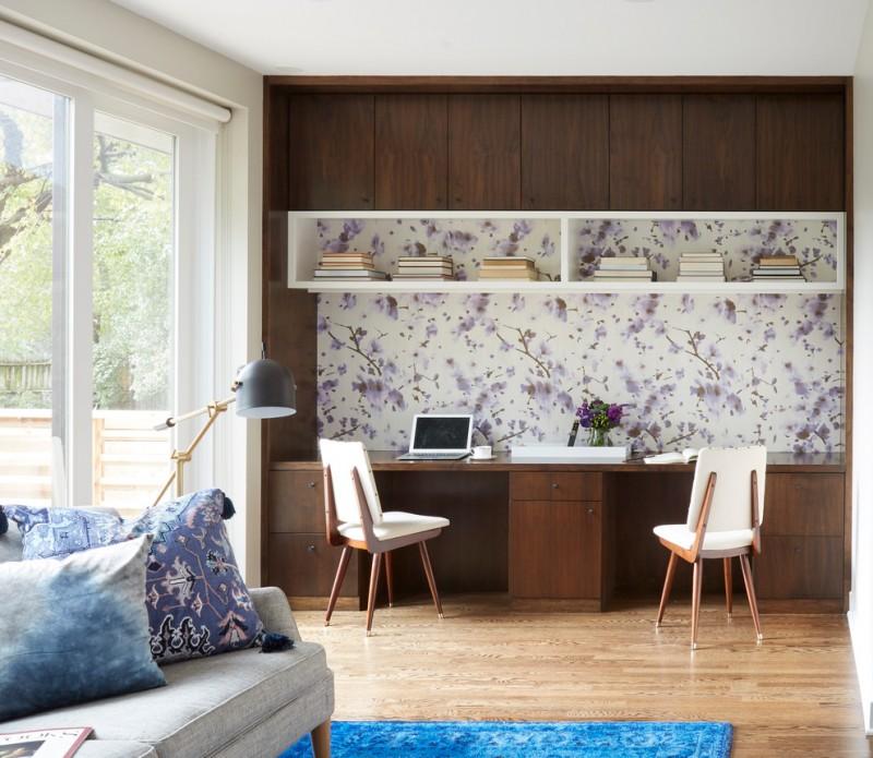 carpet wooden floor contemporary office bookshelves sofa pillows wooden cabinets glass door office chair
