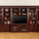 Chestnut Wooden Entertainment Center With Books Shelves And TV Cabinet And Ladder
