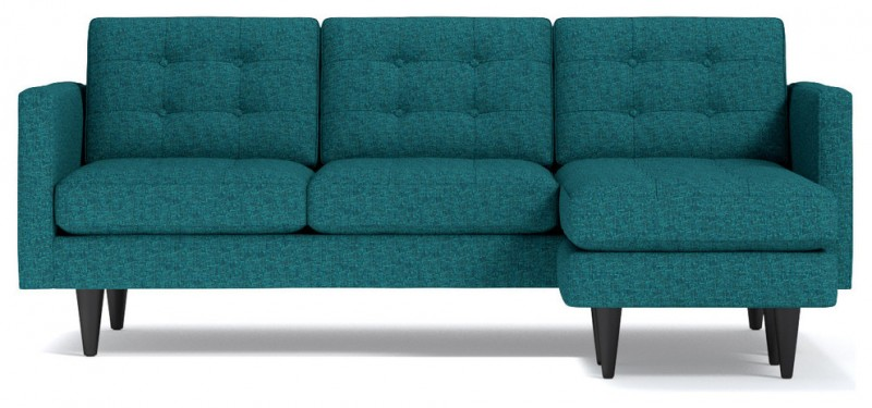 chicago blue polyster small sectional sofa