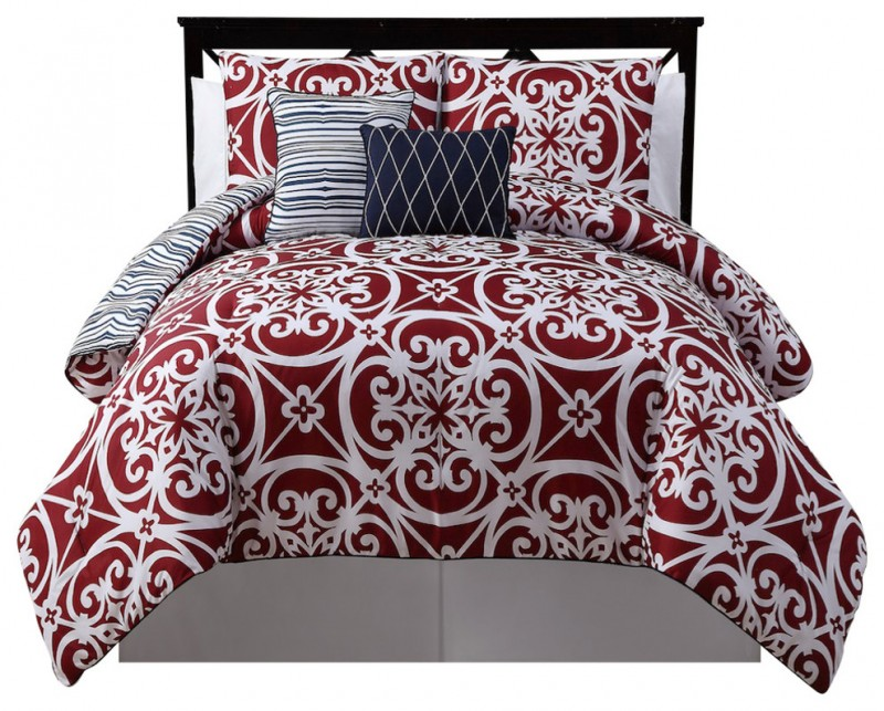 circle white patter on red comforter