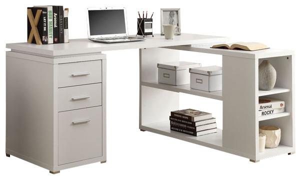 computer desk white colored office desk adjustable multiple shelves 3 drawer desk