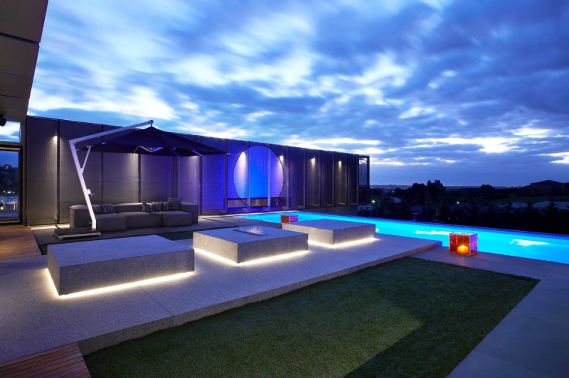contemporary outdoor lighting sofa pool pillows wood floor grass contemporary lamps seating