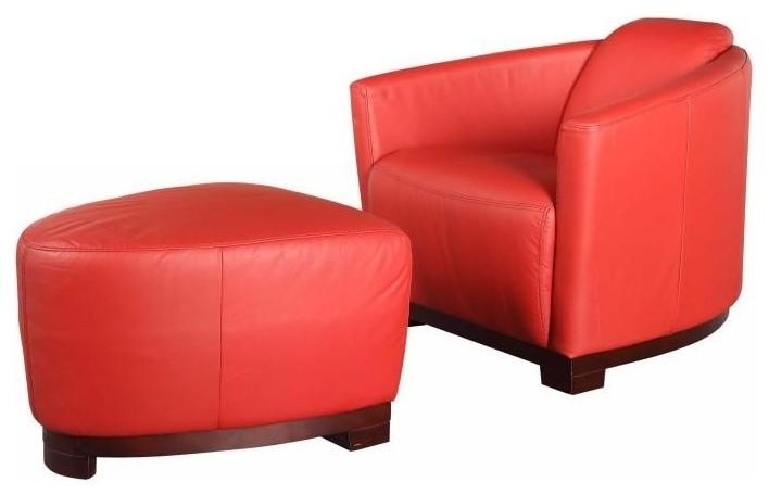 contemporary peach leather club chair ottoman accent chair