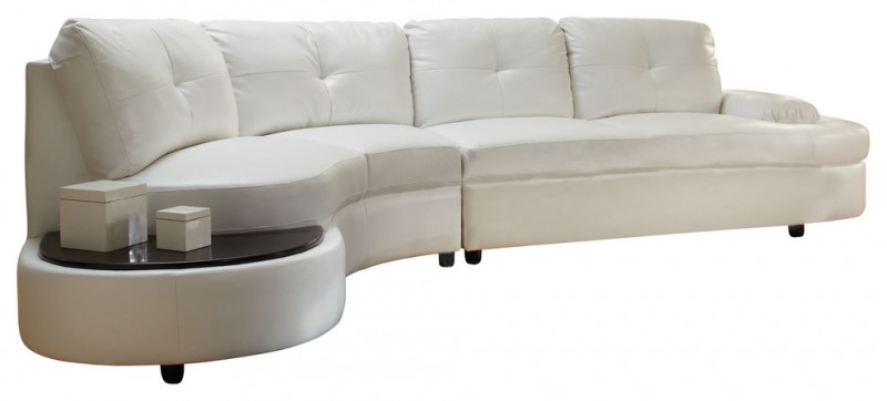 White Curved Sofa with Built In Table at the End