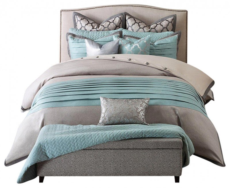 contemporary teal and gray bedding with two coordinating standard shams and euro shams and three embellished decorative pillows