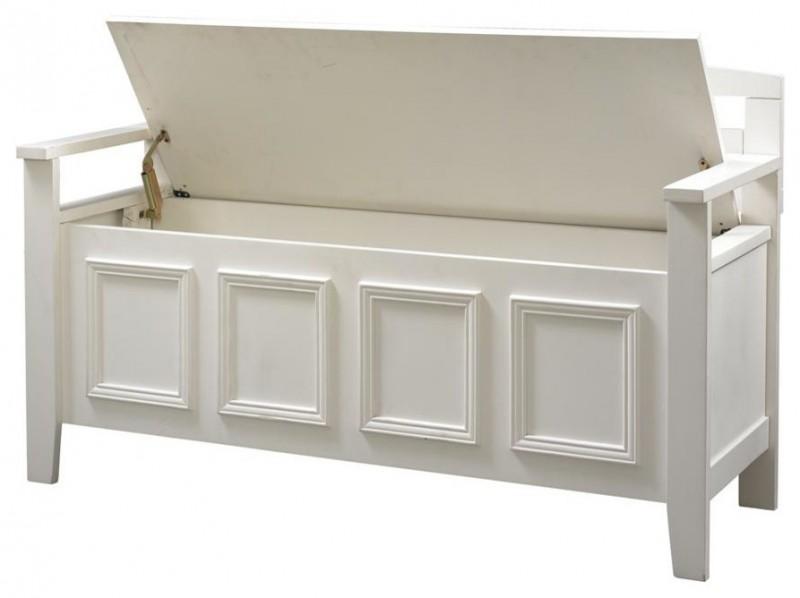 contemporer modern white storage bench with flip top