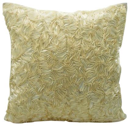 cream textured throw pillow with satin ribbon