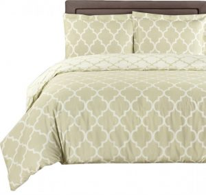 damask beige ivory bedding set with two pillows