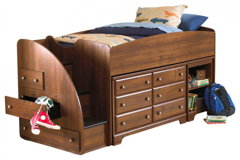 dark brown woden loft bed with double drawers, bookshelves, drawers inside the stairs
