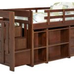 Dark Brown Woden Loft Bed With Double Shelves, Drawer, Drawers Inside The Stairs