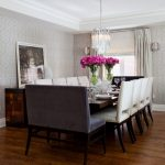Dark Chesnut Wooden Dining Table For 14 With 8 Satin Chairs And 2 Velvet Chairs For Two People