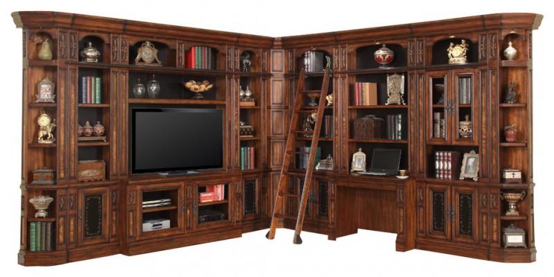 dark chestnut entertainment center L shaped with ladder