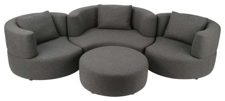 dark grey round small curved sofa with ottoman