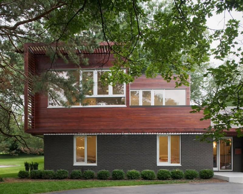dark grey wall brick red wall brick wooden colored brick contemporary exterior white window