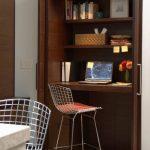 Dark Wooden Closet Space Wire Kitchen Stool Built  In Desk Hide A Way Door Simple Closet Lights