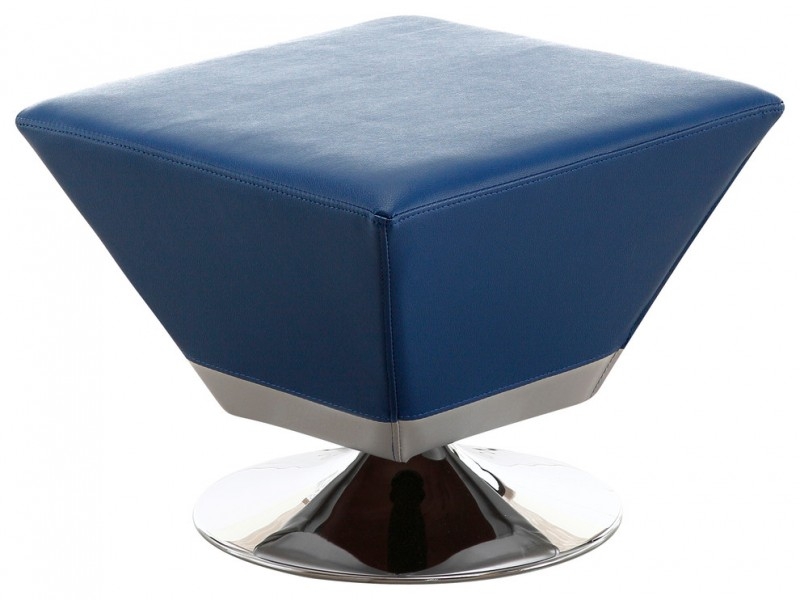 diamond blue leather ottoman with stainless steel legs