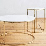 Double Round Coffee Table With Gold Round Feet