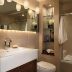 Elegant Pendant Lights Mirror Light Glass Shelves Wooden Cabinet Spacious Undermount Sink