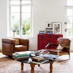 Farmhouse Living Room Brown Sofa Woode Feet Table