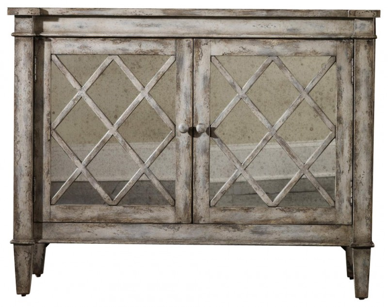 farmhouse accent cabinets with two antique mirrored doors