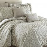 Flower Grey Ivory Bedding With 6 Pillows