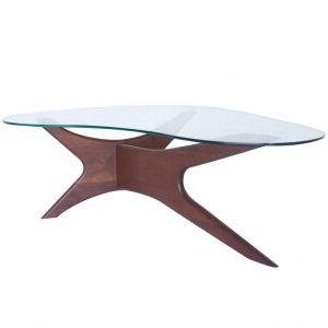 glass  L shaped coffee table