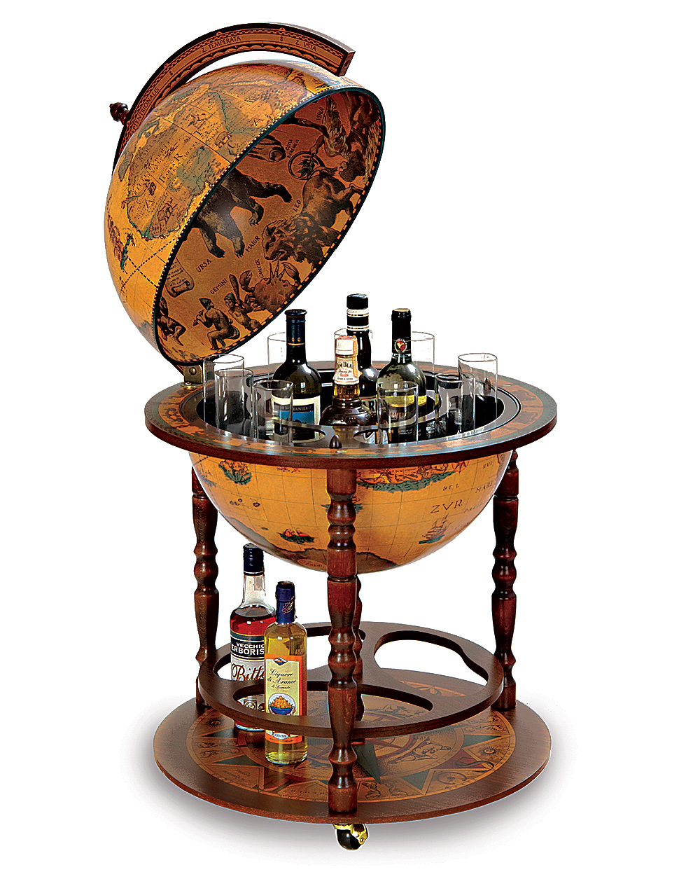 globe like wooden liquor cabinet