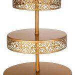 Golden Metal Reversible Three Tier Serving Stand