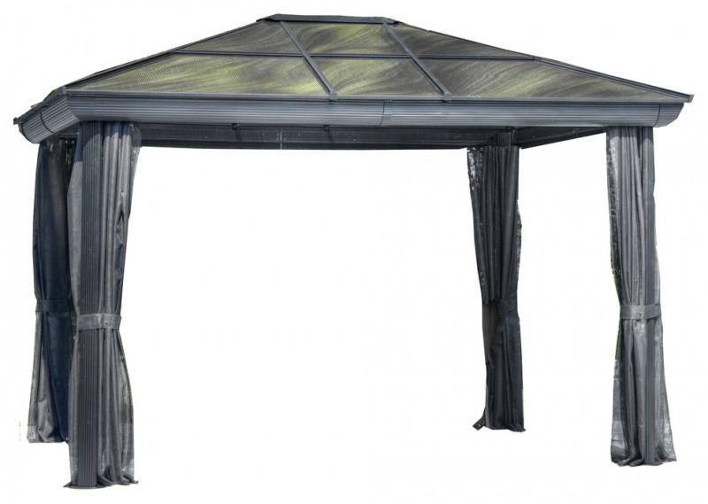 green gray roof silvery curtain aluminum gazebo kit