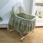 Green Small Baby Crib With Lace