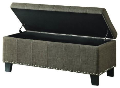 grey simple storage bench with flip top