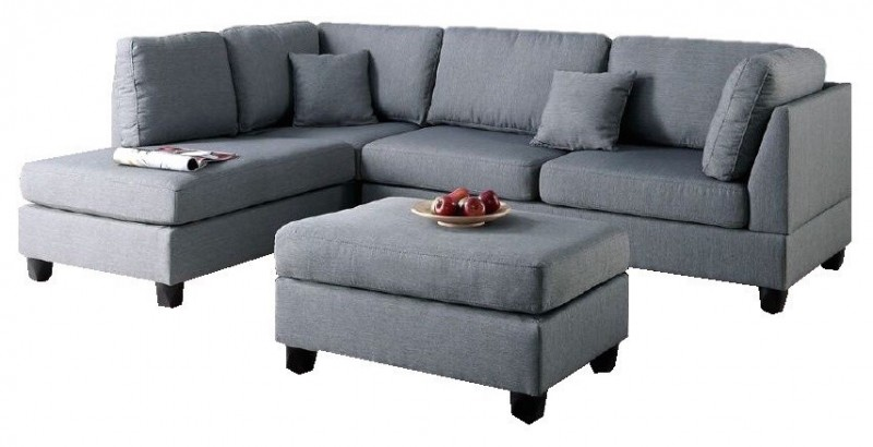 grey small sectional sofa with grey ottoman
