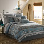 Grey Stripped Pillow On Teal Grey Bedding