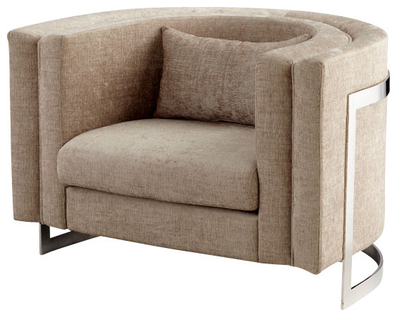 half circular beige one and a half chair with stainless steel support