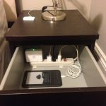 inside drawer simple nightstand charging station